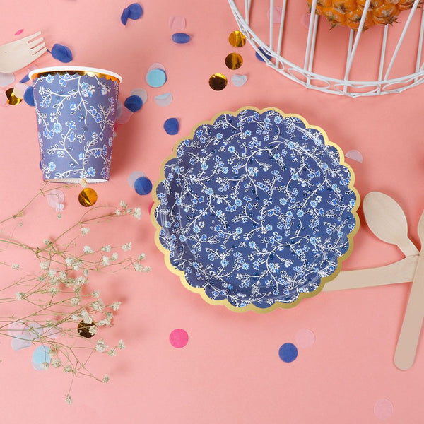Blue Floral Cups - Miss Decorate