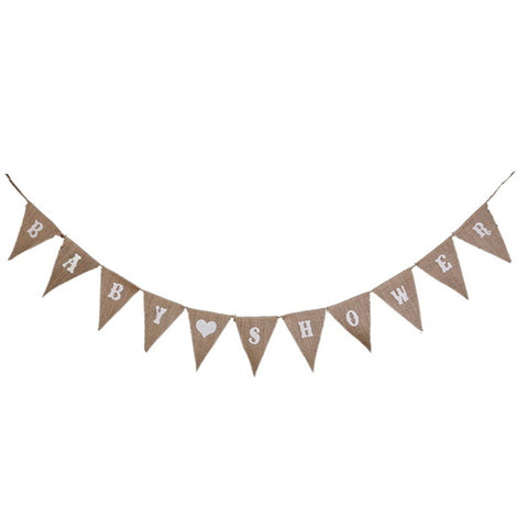 Burlap Baby Shower - Pennant - Miss Decorate
