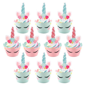 Sweet Unicorn - Cupcake Wrappers & Toppers - Miss Decorate