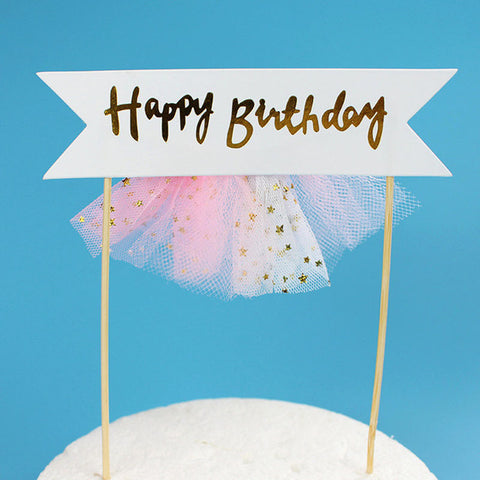 Happy Birthday Pink Skirt - Cake Topper - Miss Decorate