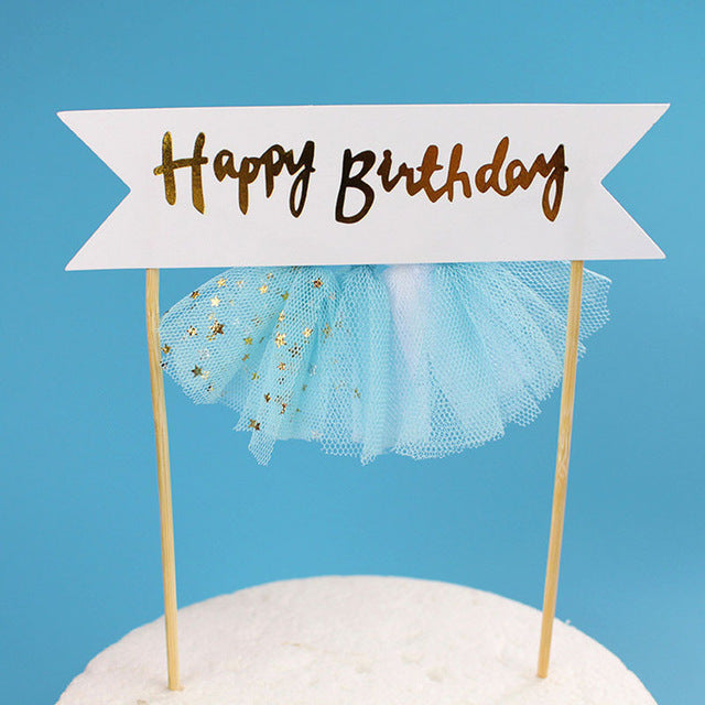 Happy Birthday Blue Skirt - Cake Topper - Miss Decorate