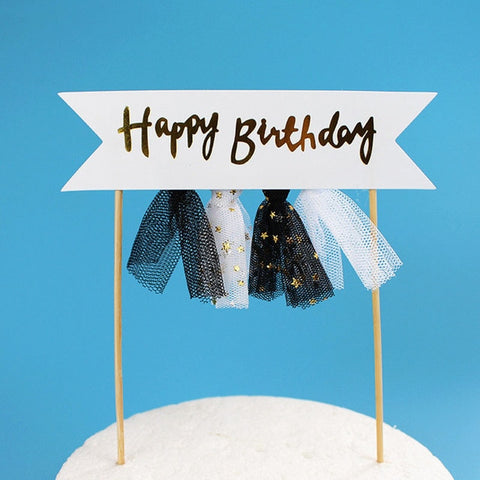 Happy Birthday Black Skirt - Cake Topper - Miss Decorate