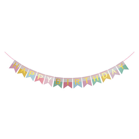 Pink Wonderland Birthday - Pennant - Miss Decorate