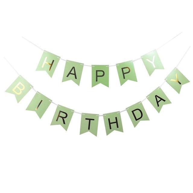 Green Happy Birthday - Pennant - Miss Decorate