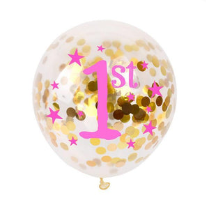 1st Birthday Confetti Balloon - Pink - Miss Decorate
