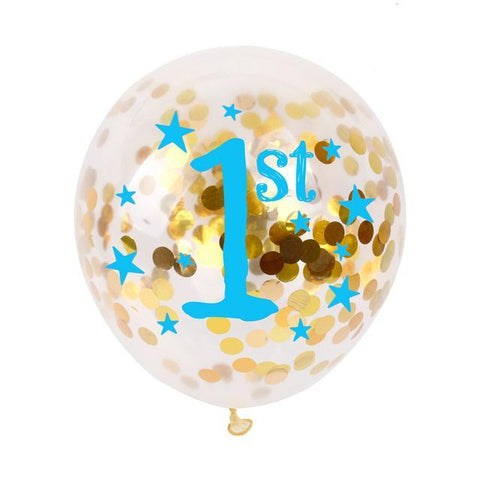 1st Birthday Confetti Balloon - Blue - Miss Decorate