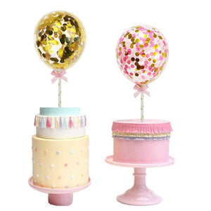 Pink Deluxe Confetti Balloon - Cake Topper - Miss Decorate