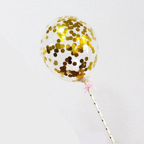 Gold Confetti Balloon - Cake Topper - Miss Decorate