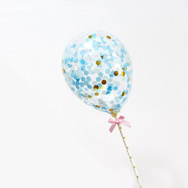Blue Confetti Balloon - Cake Topper - Miss Decorate