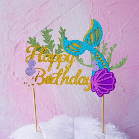 Happy Birthday Mermaid - Cake Toppers - Miss Decorate