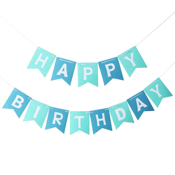 Blue Happy Birthday - Pennant - Miss Decorate