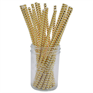 Gold Chevron -Straws - Miss Decorate