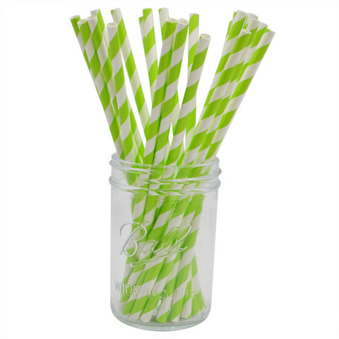 Green Stripes - Straws - Miss Decorate