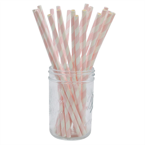 Light Pink Stripes - Straws - Miss Decorate