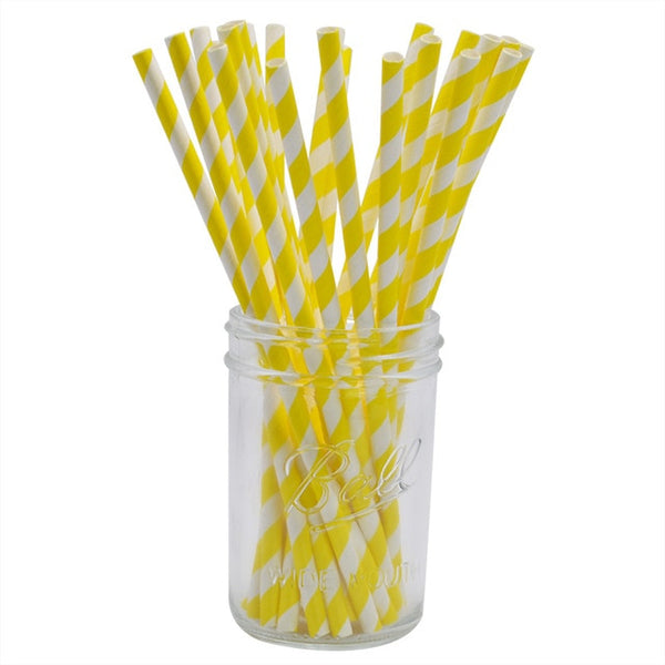 Yellow Stripes - Straws - Miss Decorate