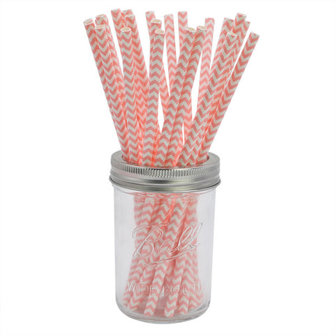Pink Chevron - Straws - Miss Decorate