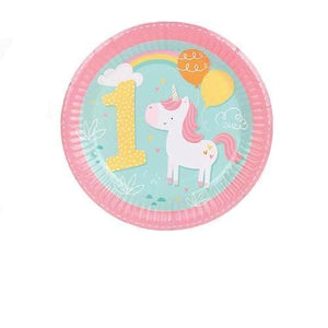 1st Birthday Rainbow Unicorn - Plates - Miss Decorate
