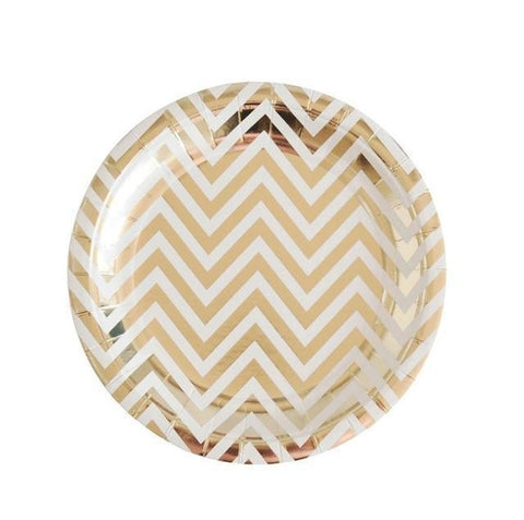 Party Gold Chevron - Plates - Miss Decorate