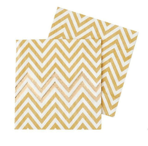 Party Gold Chevron - Napkins - Miss Decorate