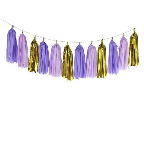 Purple/Gold Mix - Tassels Garland - Miss Decorate