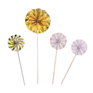 Gold Pinwheels - Cake topper - Miss Decorate