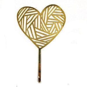 Gold String Heart - Cake Topper - Miss Decorate