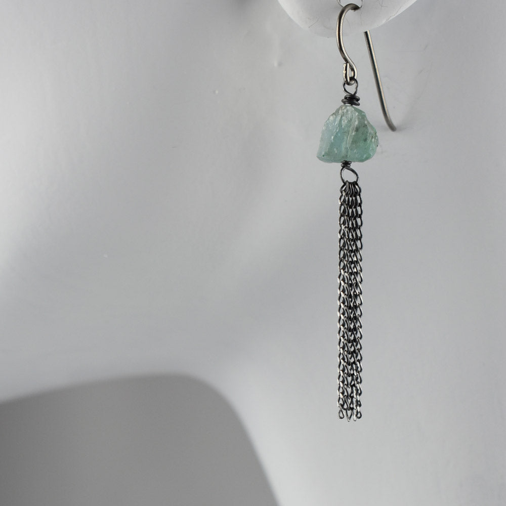 Apatite sterling silver patina chain earrings