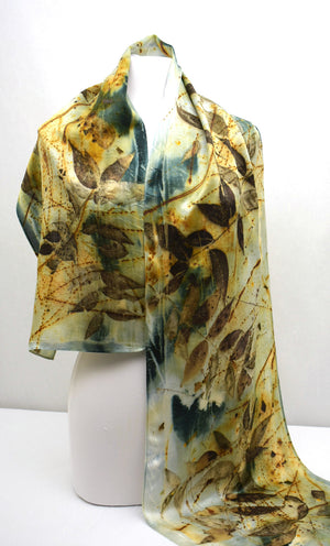 Eco Printed, Dye Infused Silk Satin