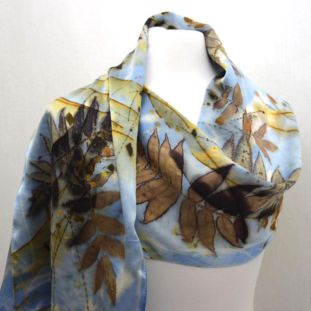 Eco Printed Blue Silk Satin Scarf