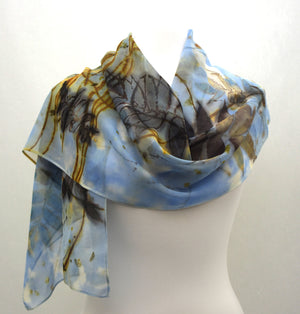 Blue Eco Printed Sumac on Silk Chiffon