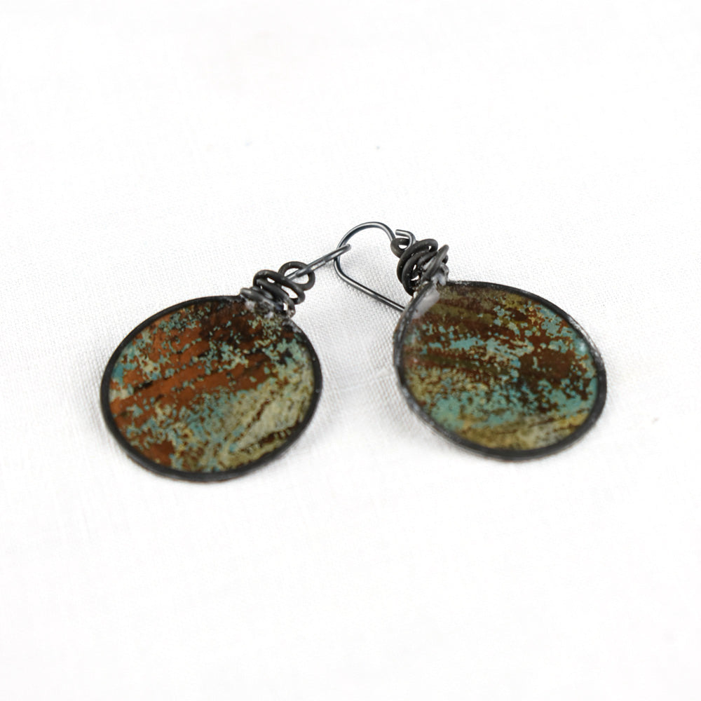 Brown and Turquoise mono print earring