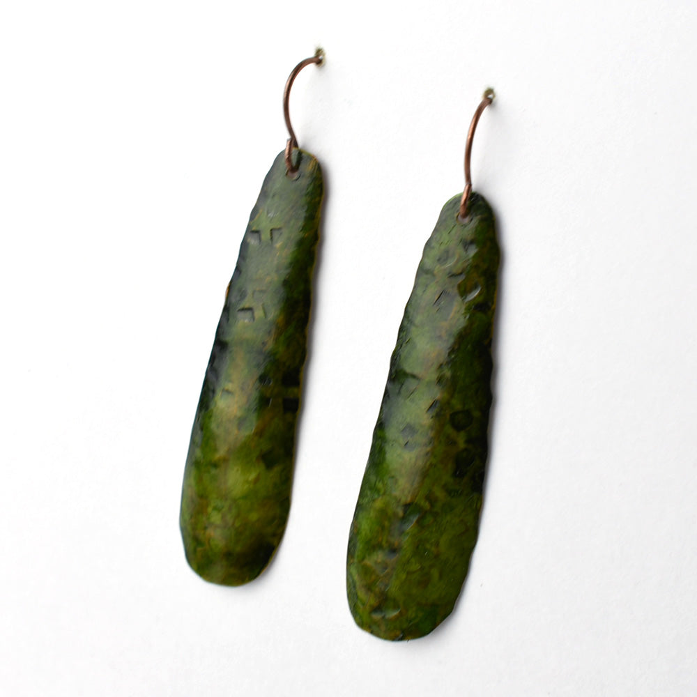 Deep Green Recycled Copper Earrings