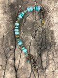 Aqua Vintage Inspired Czech Glass Bead Adjustable Bracelet