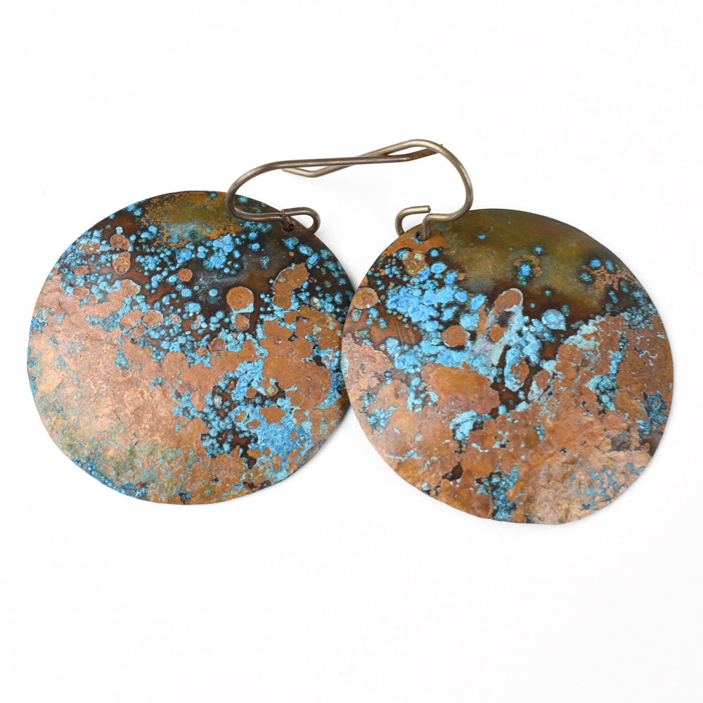 Brilliant Blue Patina on Copper Circle Earrings