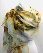 Eco Printed Rose Leaves on Silk Chiffon