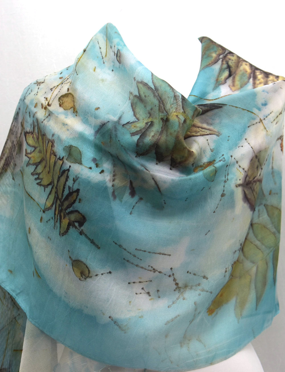 Eco Printed Sumac on Silk Mesh Fringe Shawl