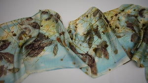 Turquoise Hand Dyed Silk Satin Scarf