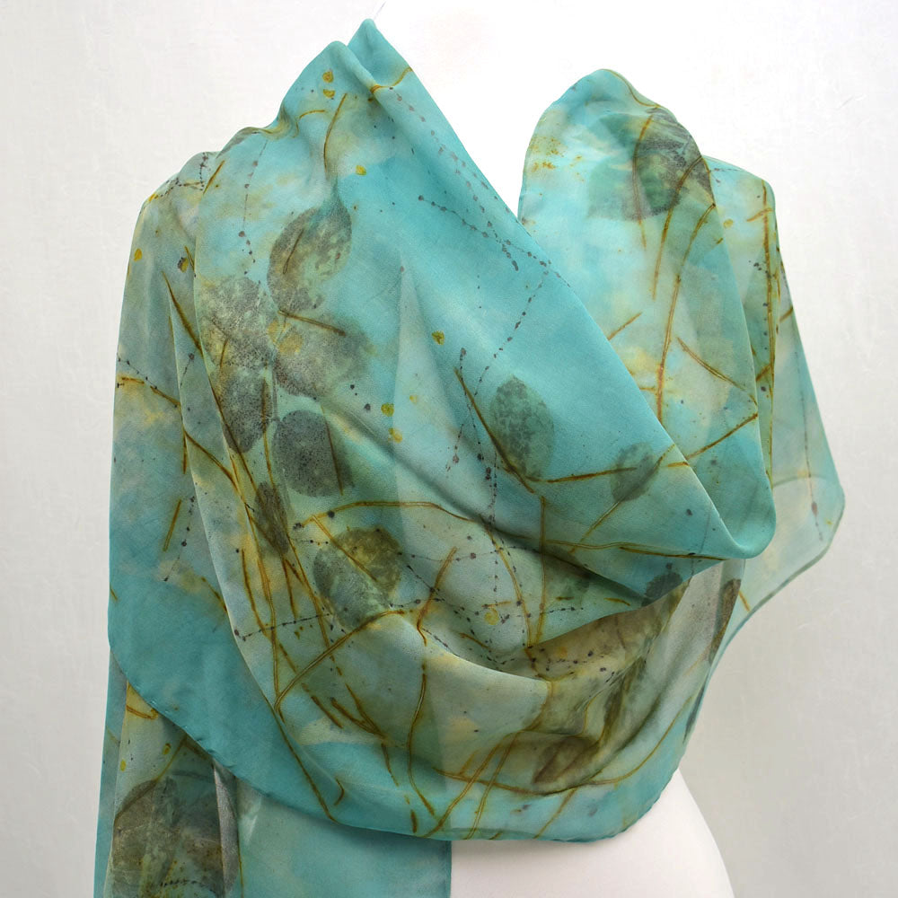 Hand Dyed Silk Chiffon Shawl with Black Walnut Leaves
