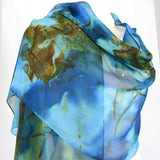 Bright Blue Hand Dyed Silk Chiffon Scarf/Shawl