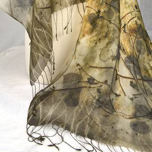 Eco Printed Silk Mesh Shawl