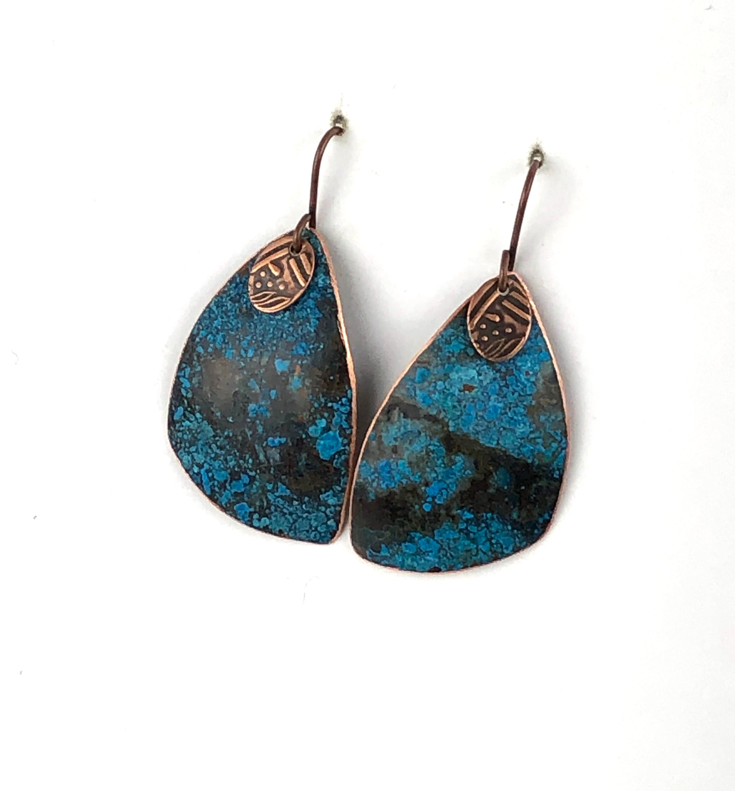 Brilliant Blue Recycled Copper Earrings