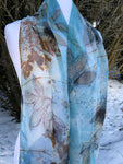 Soft Blue Eco Printed Silk Chiffon Scarf!