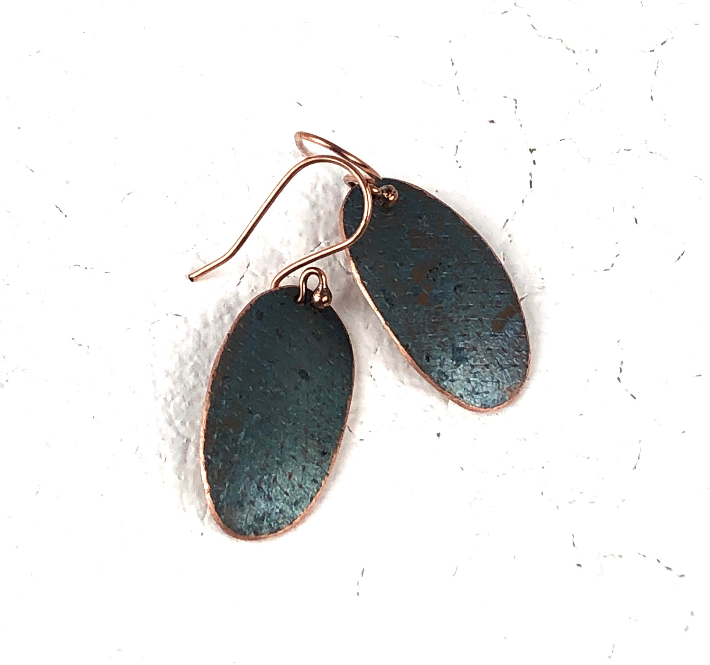 Blue Recycled Copper Earrings