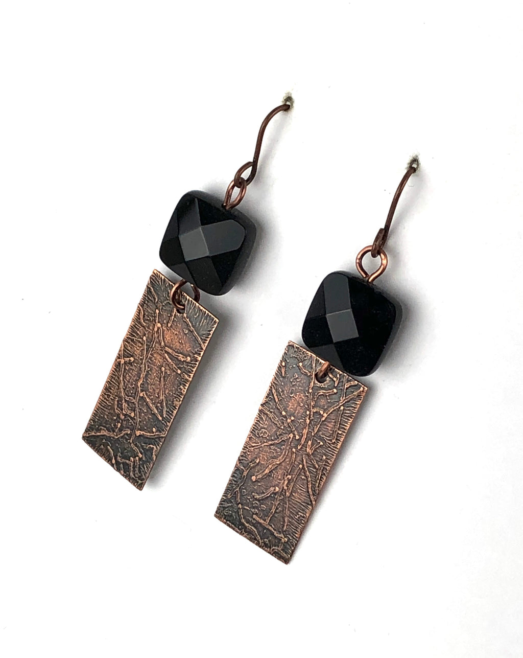 Faceted Onyx and Copper Earrings