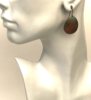Recycled Copper Earrings with Patina