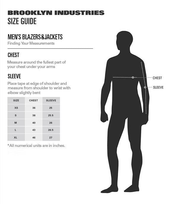Men's Jackets Size Chart