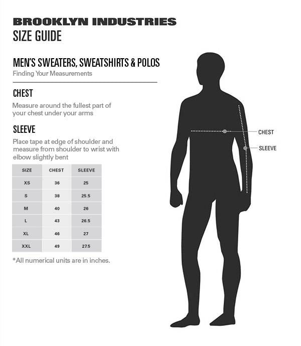 Men's Sweatshirts Size Chart