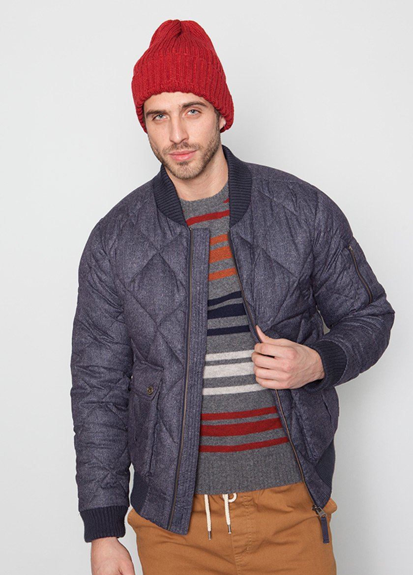 BLUE BOMBER JACKET WITH QUILTED DETAIL ON MALE MODEL FRONT VIEW