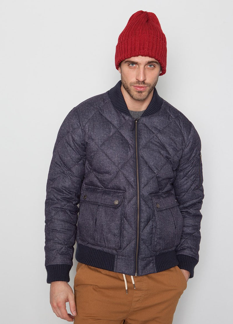 BLUE BOMBER JACKET WITH QUILTED DETAIL ON MALE MODEL
