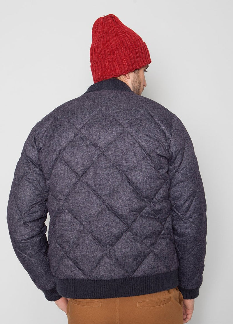 BLUE BOMBER JACKET WITH QUILTED DETAIL ON MALE MODEL BACK VIEW